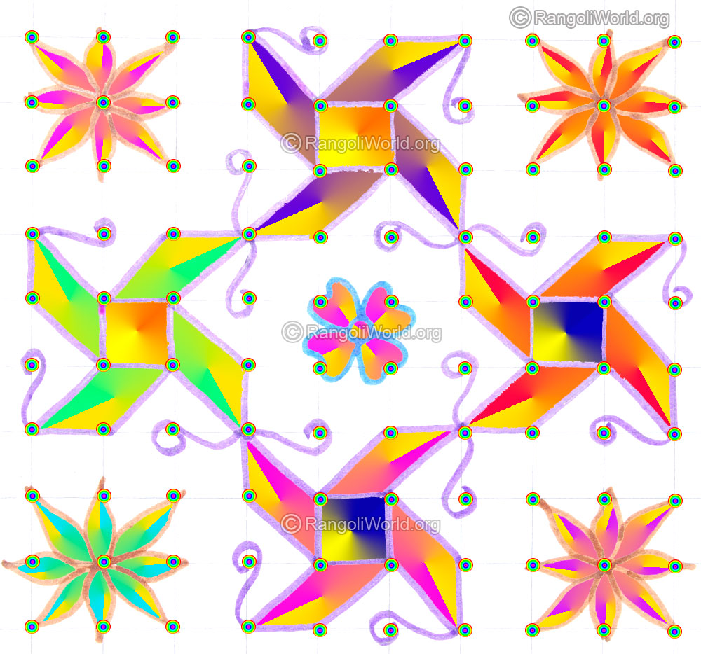 Pongal Rangoli in addition Watch also Butterfly And Star Kolam in addition Uyb4qelrXyE as well Agal Vilakku L  Pooja Kolam With 10 10 Parallel Dots May1 2015. on rangoli designs with dots