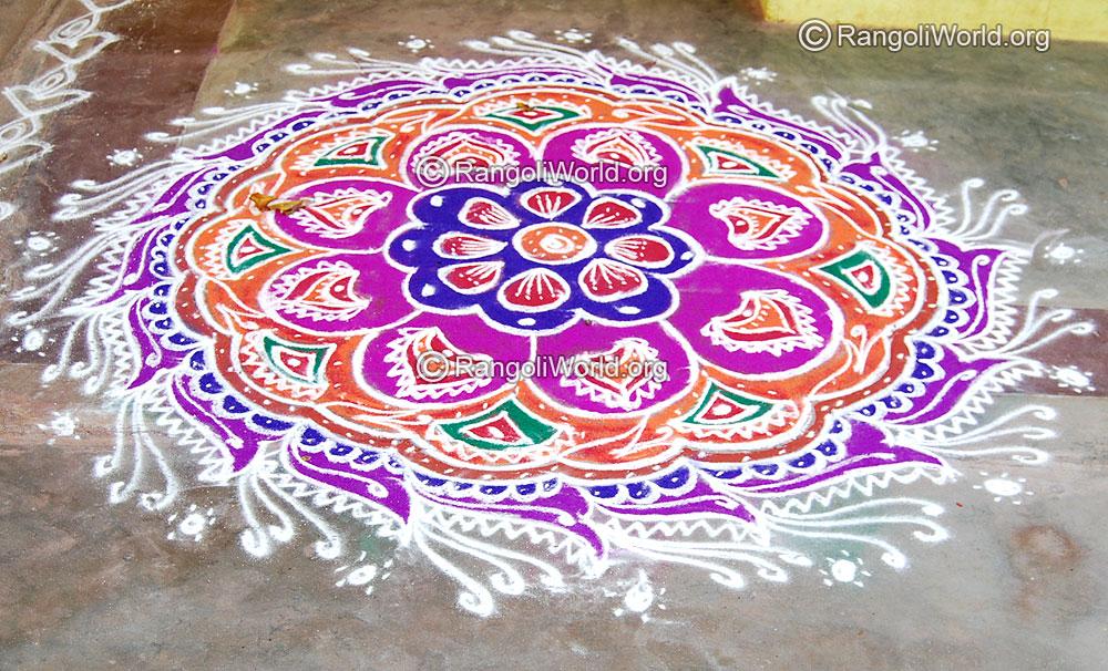 Traditional festival freehand rangoli april14 2015