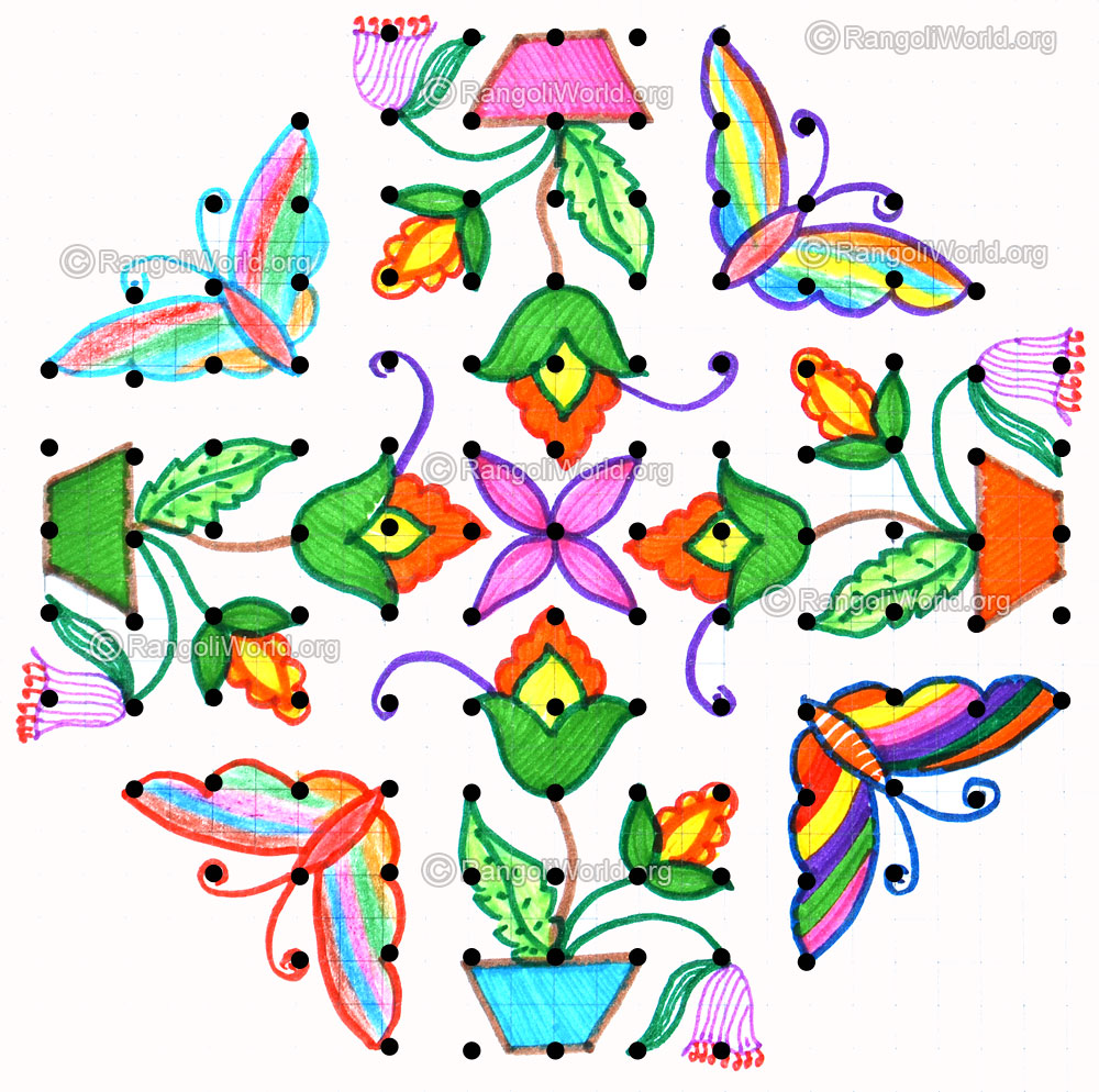 Butterfly Kolam Dec25 13 5 Parallel Dots Neer Pulli
