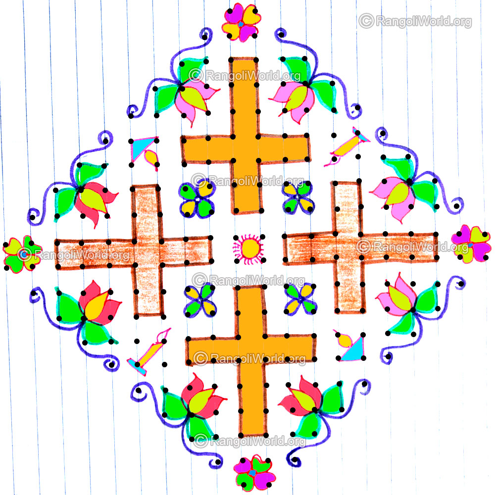 Holy Cross With Candles Kolam Design Dec25 20 To 2 Parallel Dotsneer Pulli