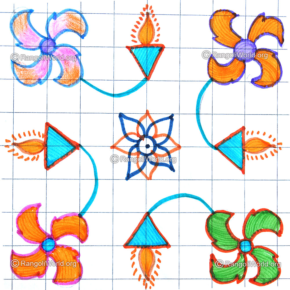 poo vilakku kolam 5 pulli april24 2015 5 5 parallel dotted pattern