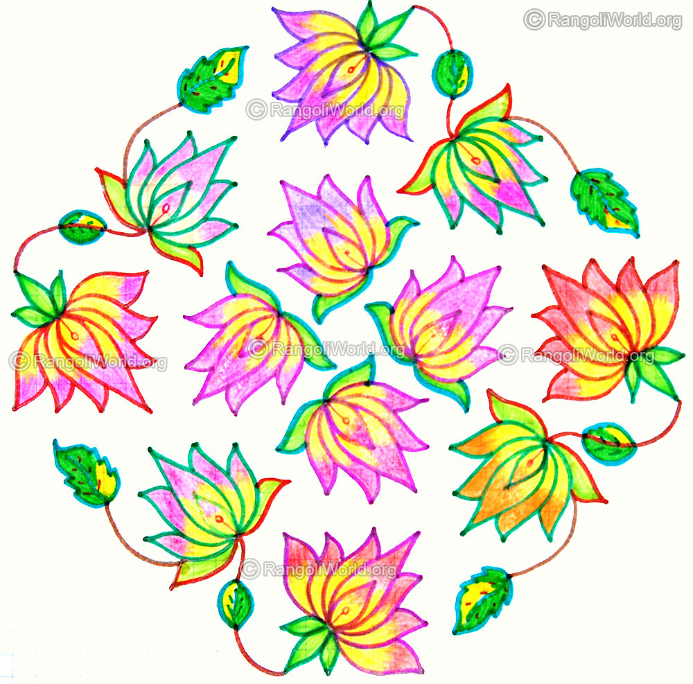 Muggulu new year 2015 colorful rangoli designs youtube - Search Results For Rangoli With Dots Kolam Calendar 2015