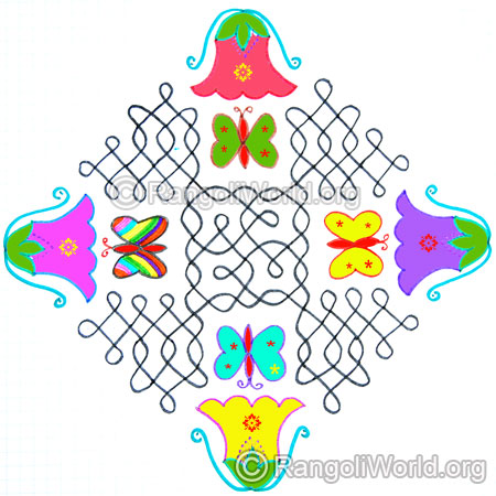 Beautiful hibiscus and butterfly sikku kolam