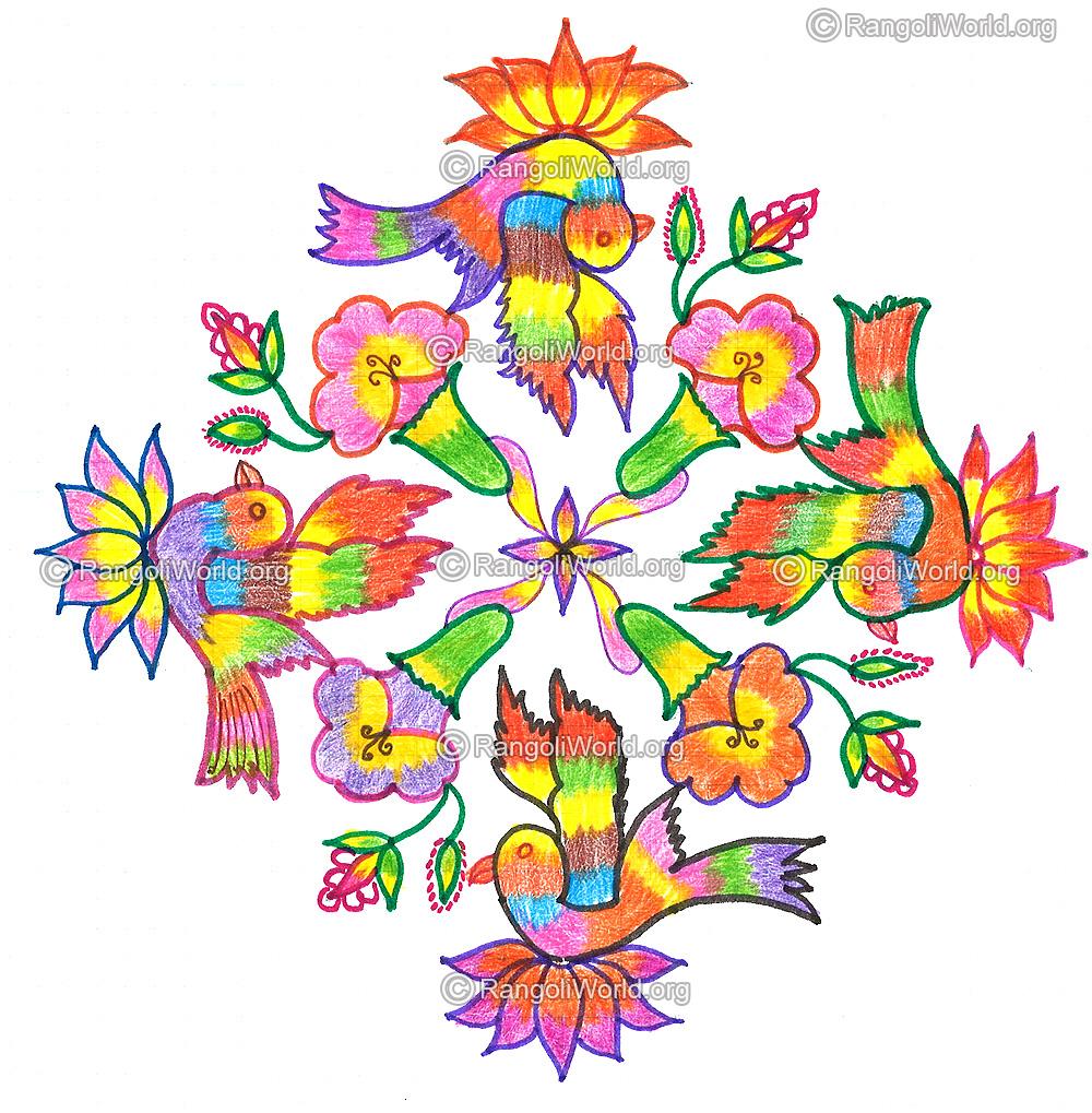 ... lotus flowers kolam - 19-1 Parallel Dots Kolam [Neer Pulli Kolam