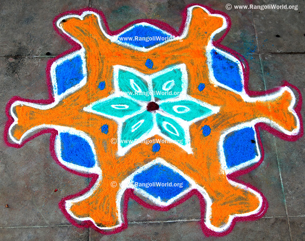 Simple 7 dots Kolam-7 - 4 Interlaced Dots Kolam [Idukku Pulli Kolam]