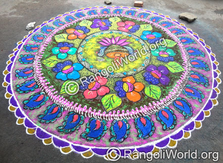 Peacock Lotus Rangoli