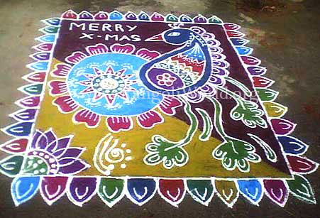 freehand rangoli with peacock on carpet theme