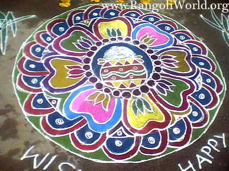 freehand rangoli with pongal theme