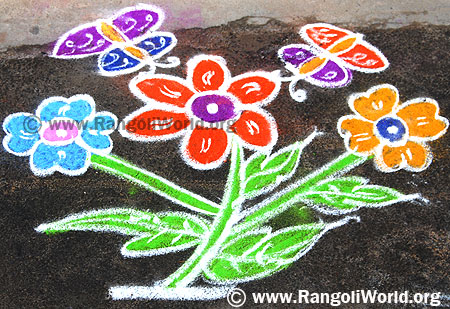 Freehand Rangoli with butterfly on flowers