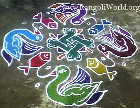 freehand rangoli with dove and fish