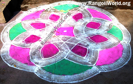 Freehand Rangoli with 7 stroke outline