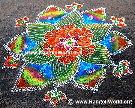 Freehand Rangoli with rainbow colors filling