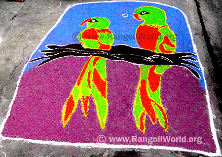 two parrots in tree Freehand Rangoli