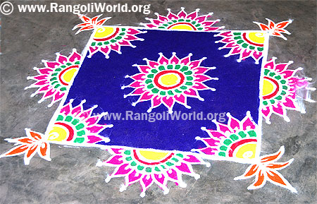 Square Freehand Rangoli with pink flowers