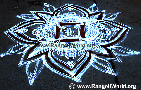 Freehand Rangoli with pooja lines and two stroke