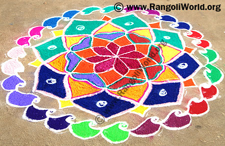 Freehand Rangoli with all colors mixed
