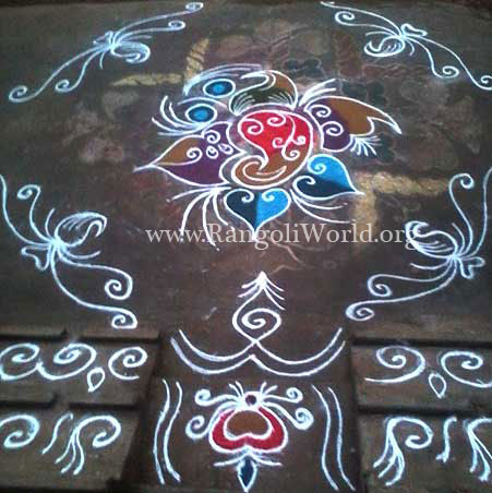 freehand rangoli with love birds in flower plant