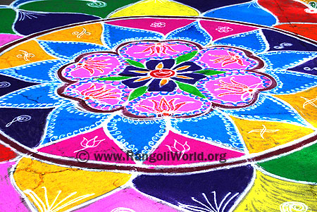 Freehand Rangoli with lotus flowers