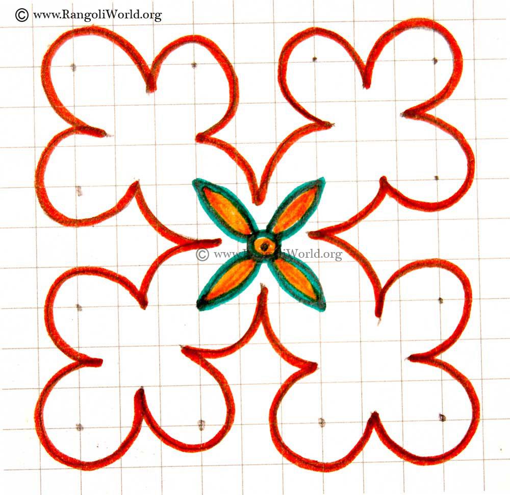 Simple 4 To 4 Flower Kolam May2913