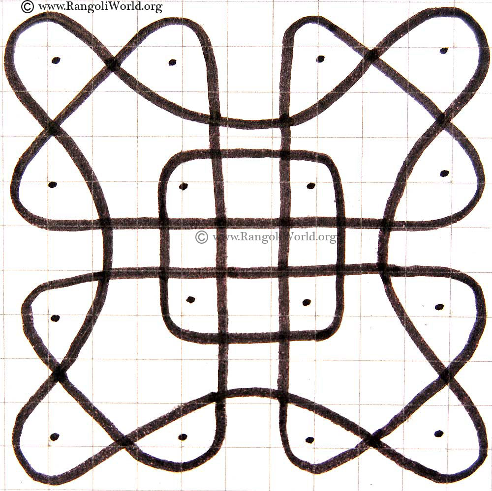 Simple 4 To 4 Parallel Dots Sikku Kolam3 May2913