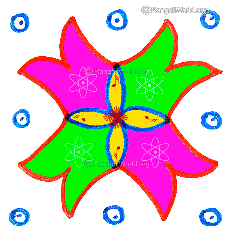 5 and 4 dots pulli kolam designs gallery 3