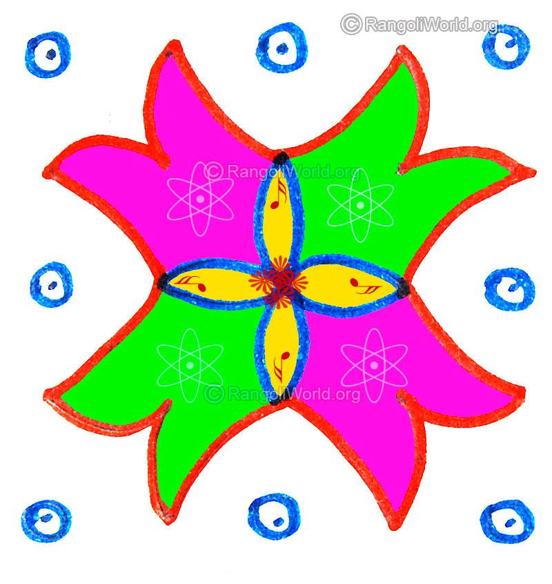 5 And 4 Dots Pulli Kolam Designs Gallery 3