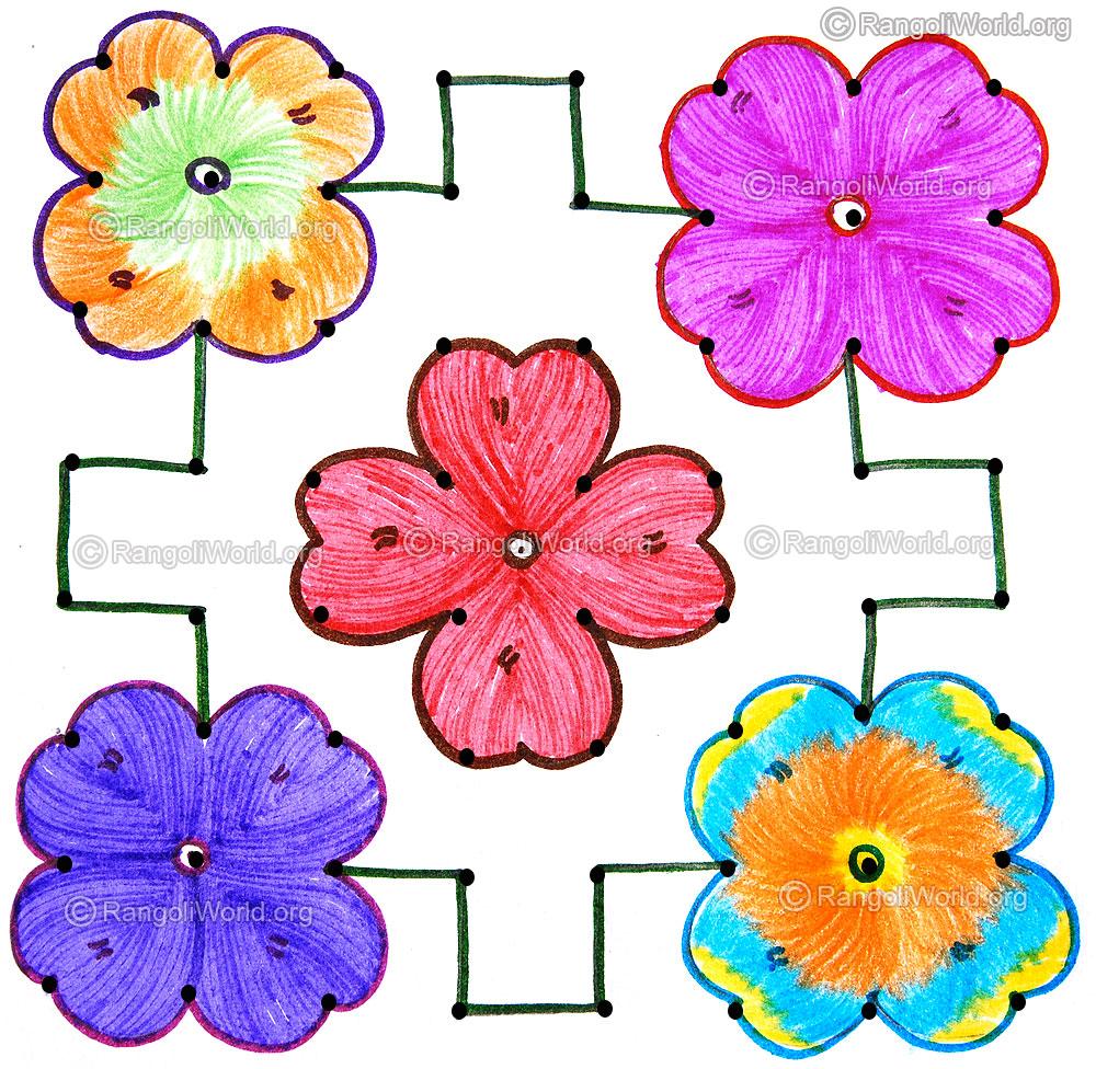 Flower Kolam Flower Dot Kolam Pictures to pin on Pinterest