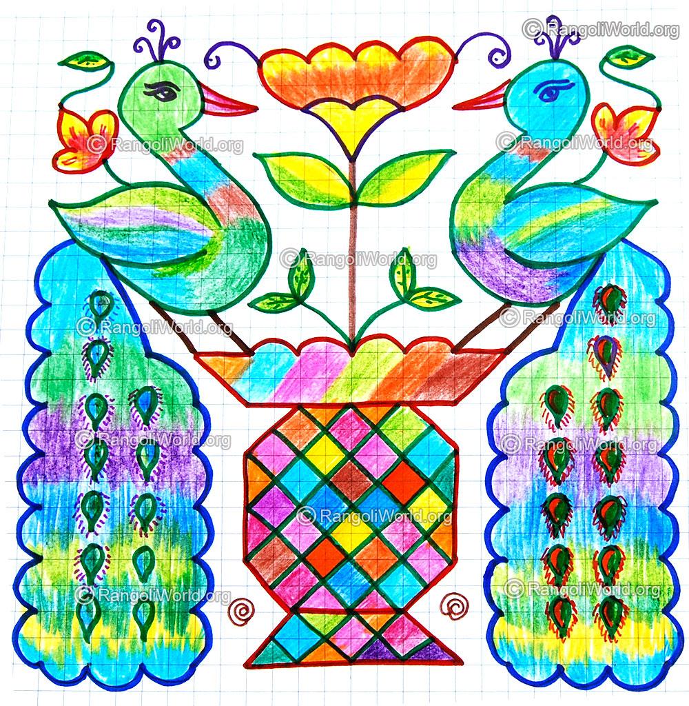 peacock mayil kolam jan 2015 13 to 13 parallel dots kolam
