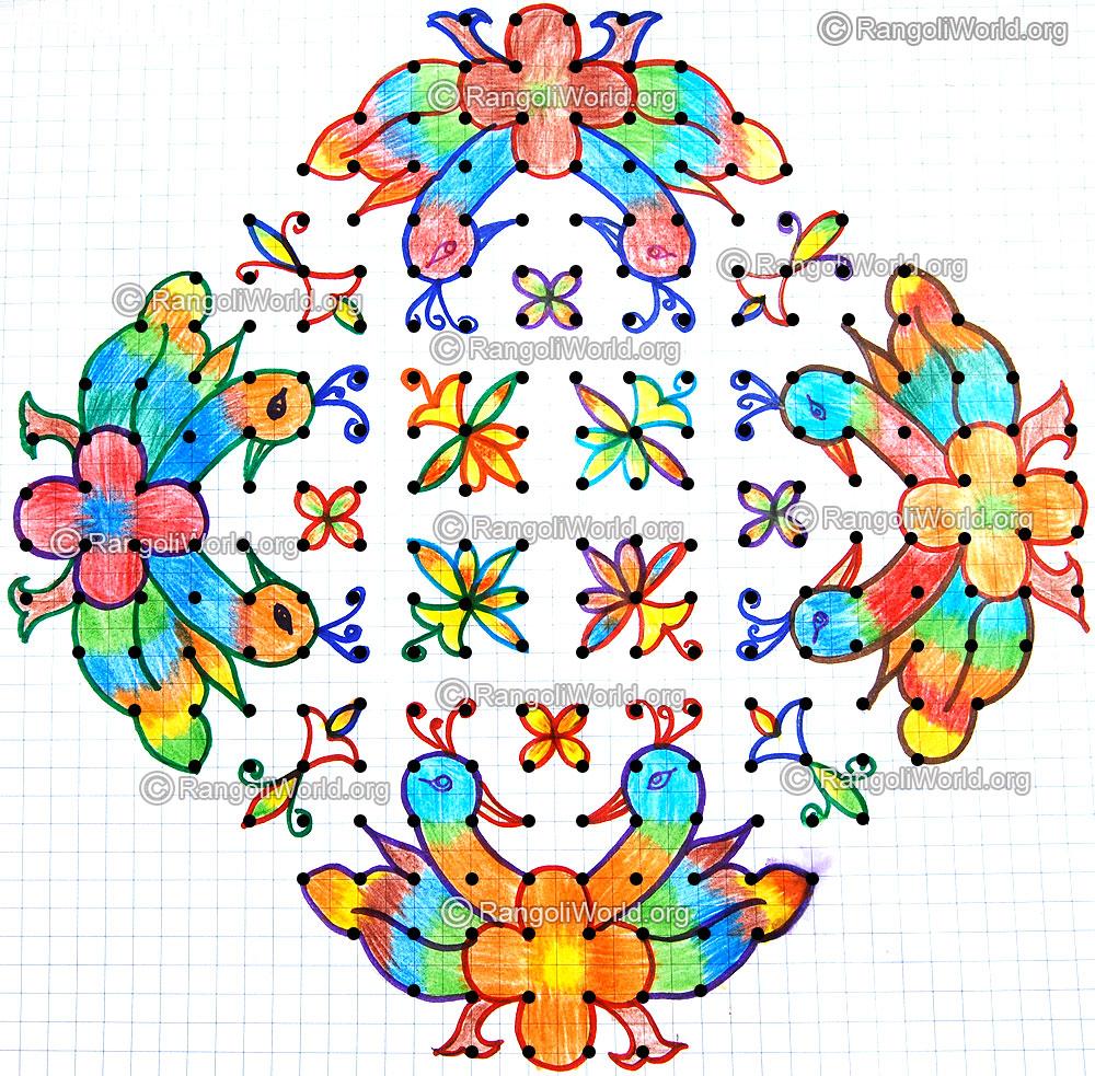 ... flowers kolam jan 2015 ,20-4-4 Parallel Dots Kolam [Neer Pulli Kolam