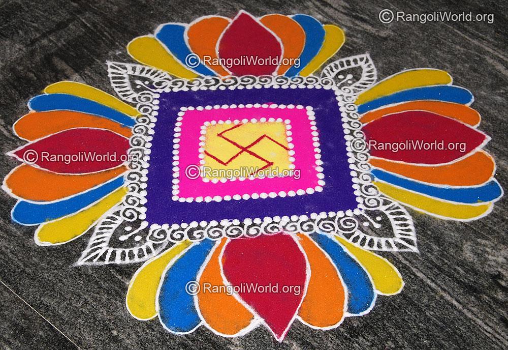Sanskar Bharti Lotus Flower Freehand Rangoli For Pooja