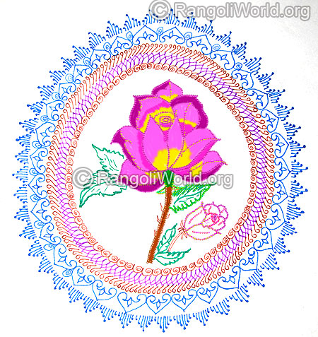 Colorful rose flower rangoli dec jan 2016