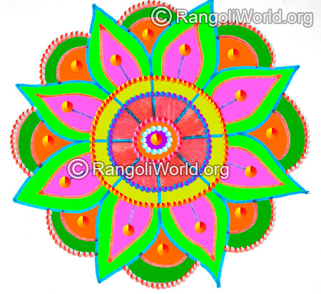 Easy flower freehand rangoli karthigai margazhi month 2016