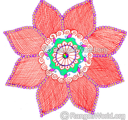 Flower freehand rangoli margazhi 2016