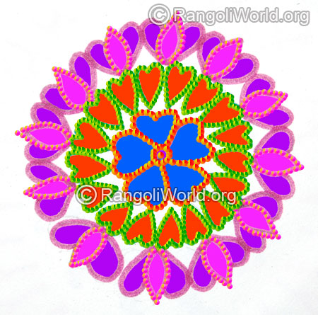 Margazhi freehand lotus rangoli 2016