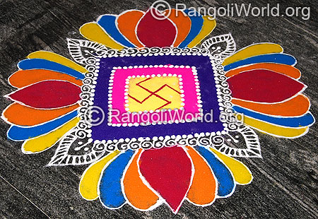 Sanskar bharti lotus flower freehand rangoli for pooja