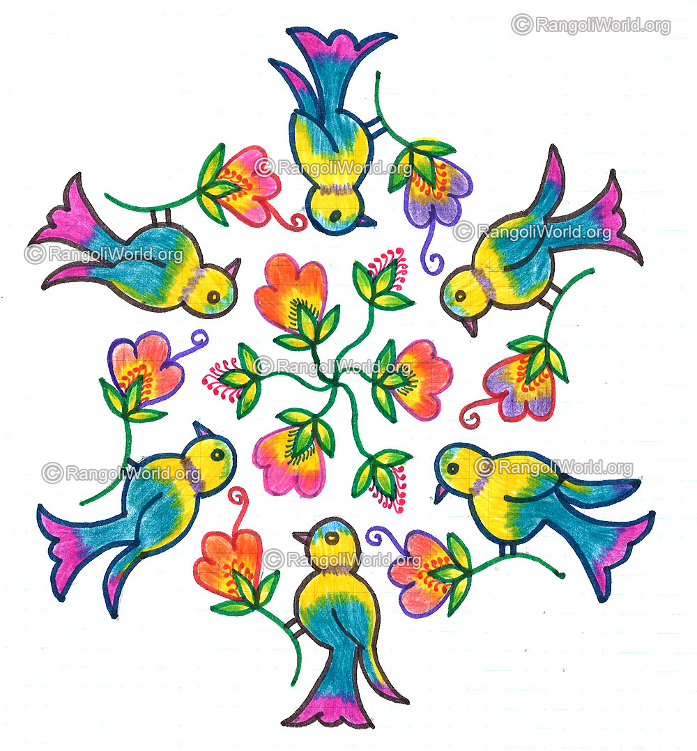 on flowers kolam margazhi-13-7 Interlaced Dots Kolam 3-3 parallal dots ...
