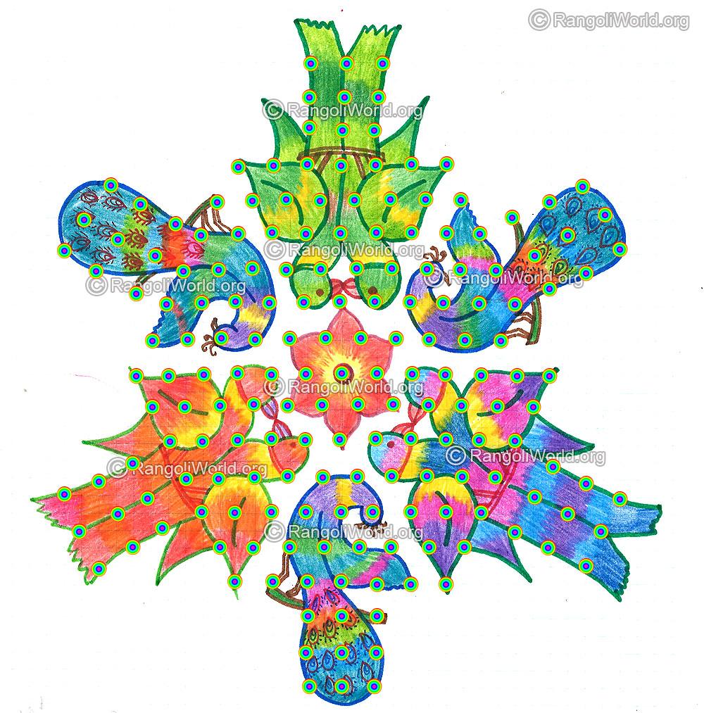 love and peacock kolam-13-7 Interlaced Dots Kolam [Idukku Pulli Kolam ...