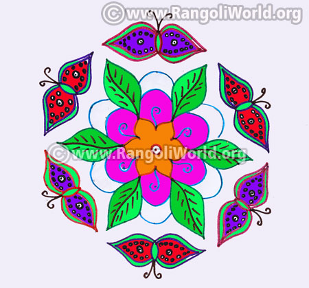 Butterfly and flowers kolam design jan 2017