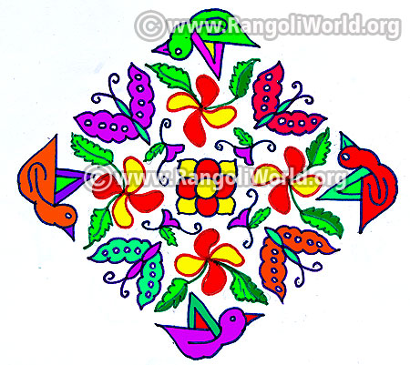Butterfly duck kolam design jan 2017