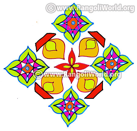 Colourful lamp kolam jan 2017