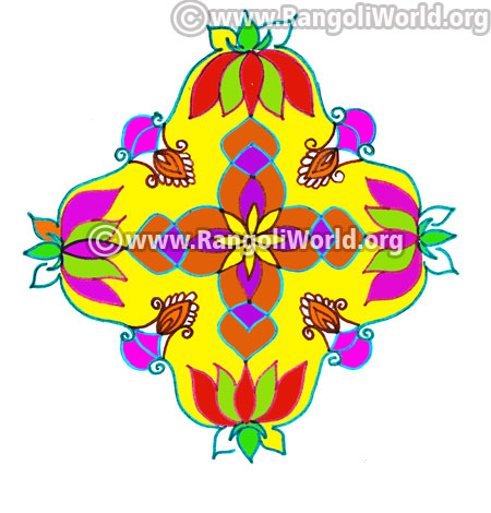 Colourful lotus kolam design jan 2017