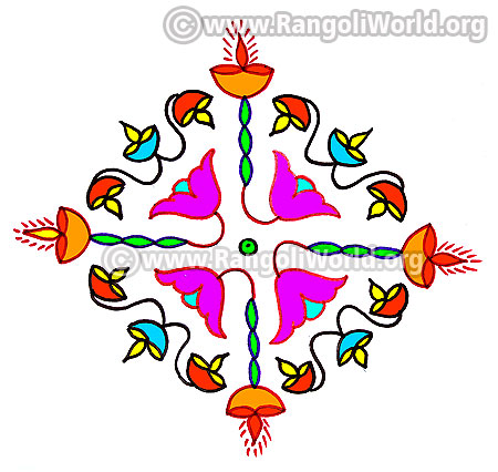 Lotus flower kolam design margazhi 2017