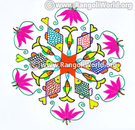 Lotus and fish kolam jan 2017
