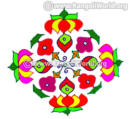 Lotus and flowers kolam design