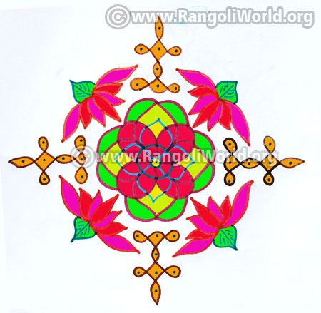 Lotus flower deepam sikku kolam jan 2017