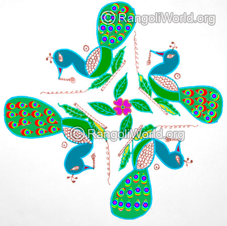 Easy peacock kolam for kids jan 2016