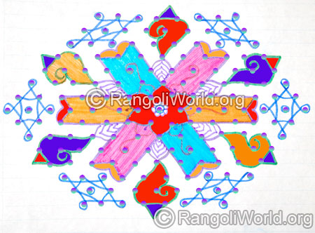 Easy butterflies kolam with 13 to 7 interlaced dots jan 2016