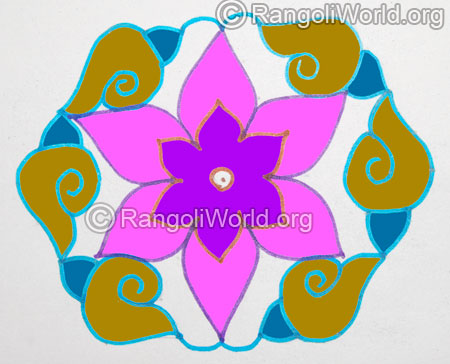 Simple sangu kolam with 11 interlaced dots jan 2016
