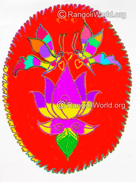 Latest lotus butterfly rangoli design 2016