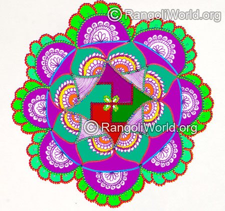 Swastika flower temple rangoli design 2016